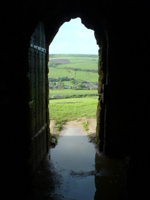 Looking outside through the open doorway, St Catherine's Chapel