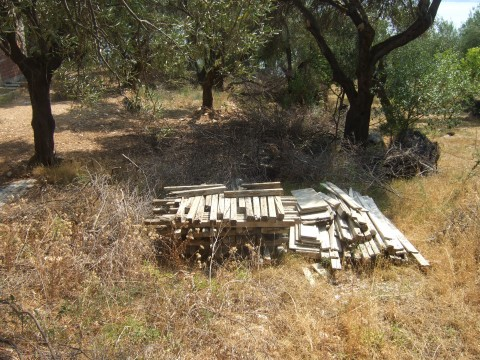 Stacked wood lying in olive grove