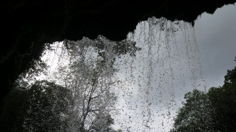 Water droplets falling from above, caught mid motion